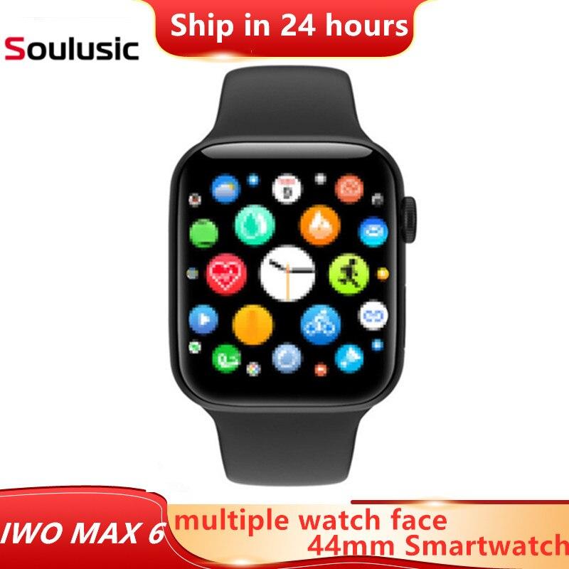 Iwo max 6 relógio inteligente de toque completo celular faces bluetooth chamada controle voz música banda inteligente rastreador saúde esporte modo