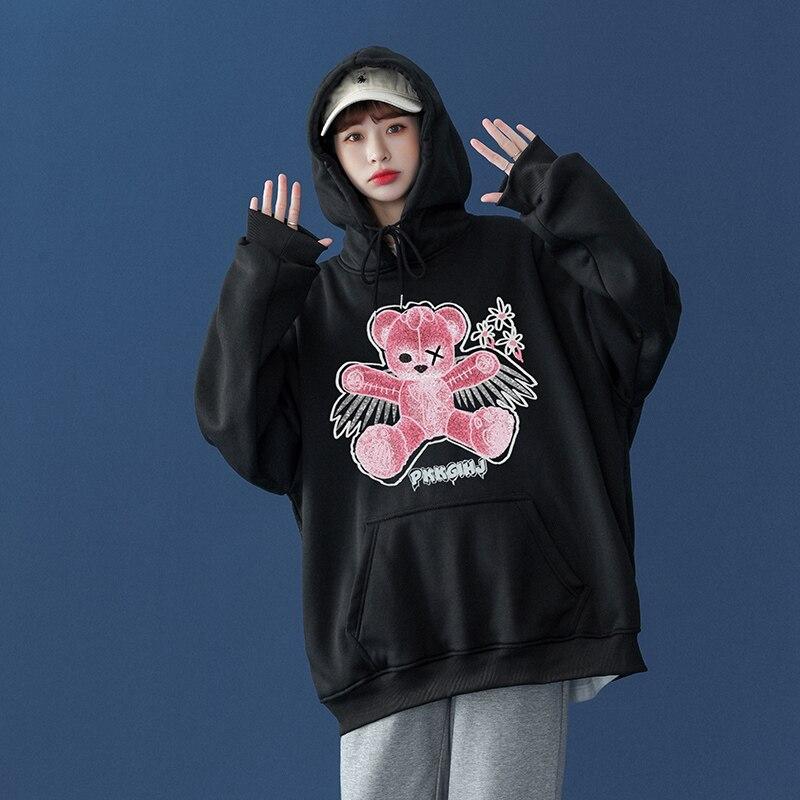 Women Sweatshirt Pink Little bear Cartoon Print Hoodie Pullover  Couples Loose Couple Japanese haraj