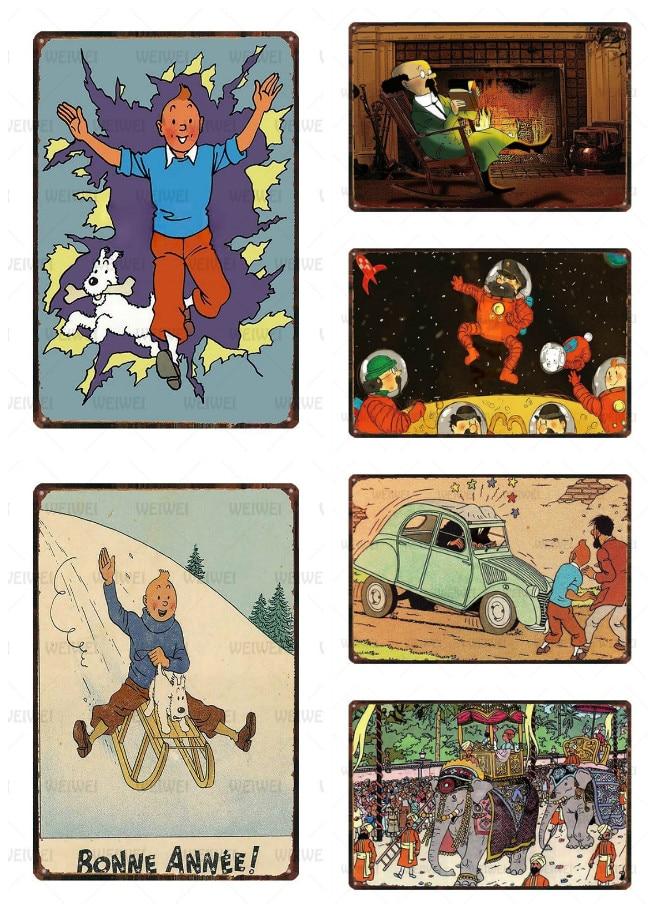 AliExpress - Tintin Cartoon Metal Tin Signs Alpha Art Painting Shop Wall Sticker Home Decor Tintin Movie Poster Bar Vintage Iron Plates