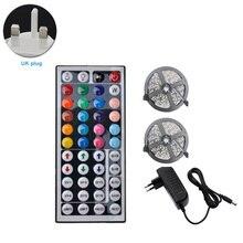 2 pièces 5m auto-adhésif coloré cadeau RGB LED bande salon 12V 44-key TV fond décor à la maison avec télécommande infrarouge