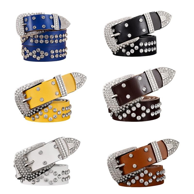 Fashion Women Genuine Leather Belts Punk Luxury Brand Rhinestone Two Layer Cowhide Waist Accessories Jeans Waistband