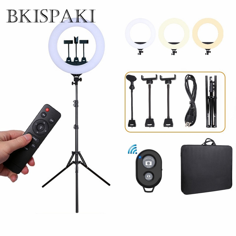 Anillo de luz LED para Selfie de 45cm y 56cm con soporte de luz para teléfono, soporte para mando a distancia, adaptador para UE y EE. UU., luz LED para vídeo, para maquillaje, Youtube