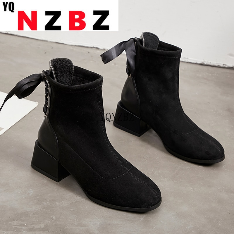 Women Sexy Sock Boots Knitting Stretch Boots High Heels Women Fashion Autumn Back Lace-up Women Ankl
