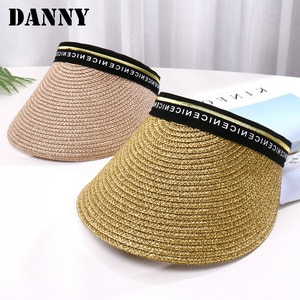Summer Panama Ladies Straw Hat Breathable Letters Four-color Sunshade Empty Top Baseball Cap Beach Vacation Sunshade Female Hat