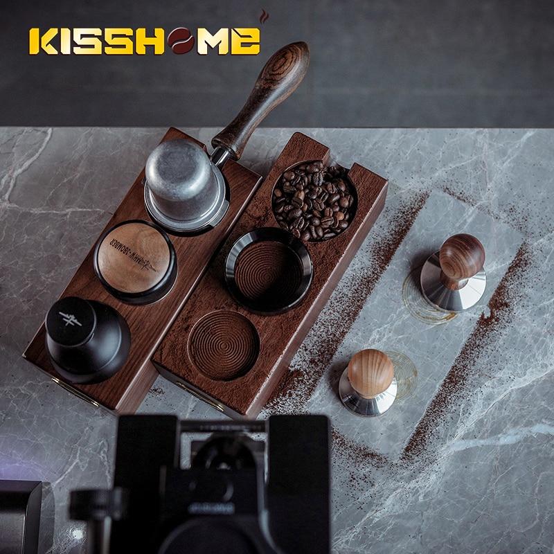 51 مللي متر/54 مللي متر/58 مللي متر الجوز الخشب سدادة قهوة حصيرة حامل القهوة تصفية حامل قاعدة رف إسبرسو اكسسوارات ل أدوات باريستا