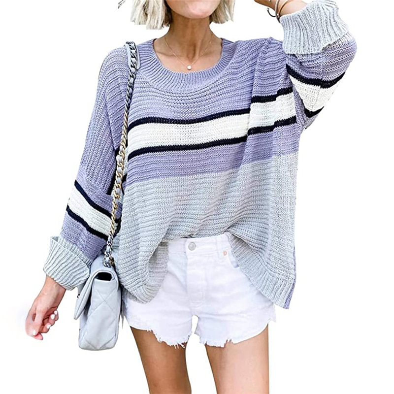 contrast striped pullover sweater Autumn  winter new women's knitted sweater contrast color pullover college wind roll sleeves striped stitching sweater MY19076