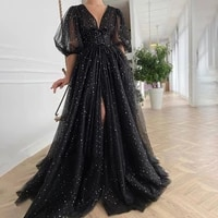 sexy black starry tulle prom dresses half puff sleeves wedding party dresses pleats split long prom gowns belt robes de soir%c3%a9e