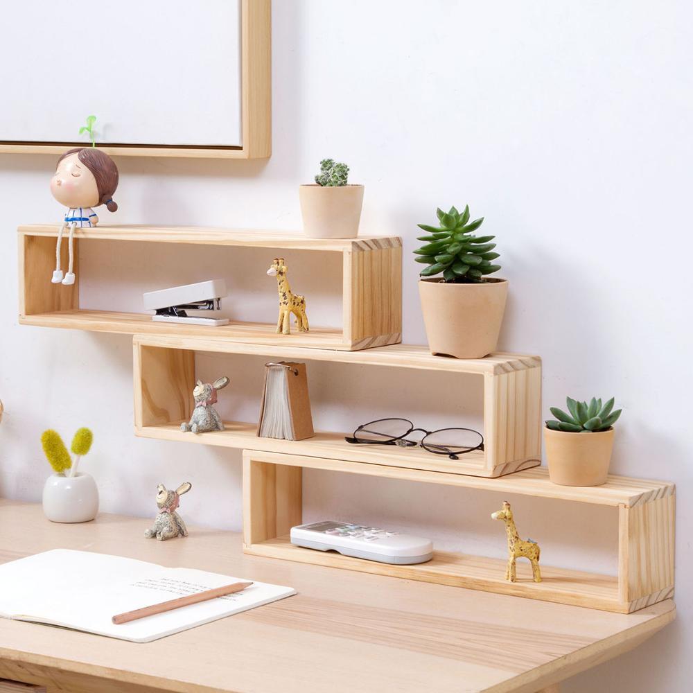 Desktop Pine Wood Creative Shelf Organizer Desk Decorative Storage Box Solid Wood Multi-layer Storage Rack For Flower Pot