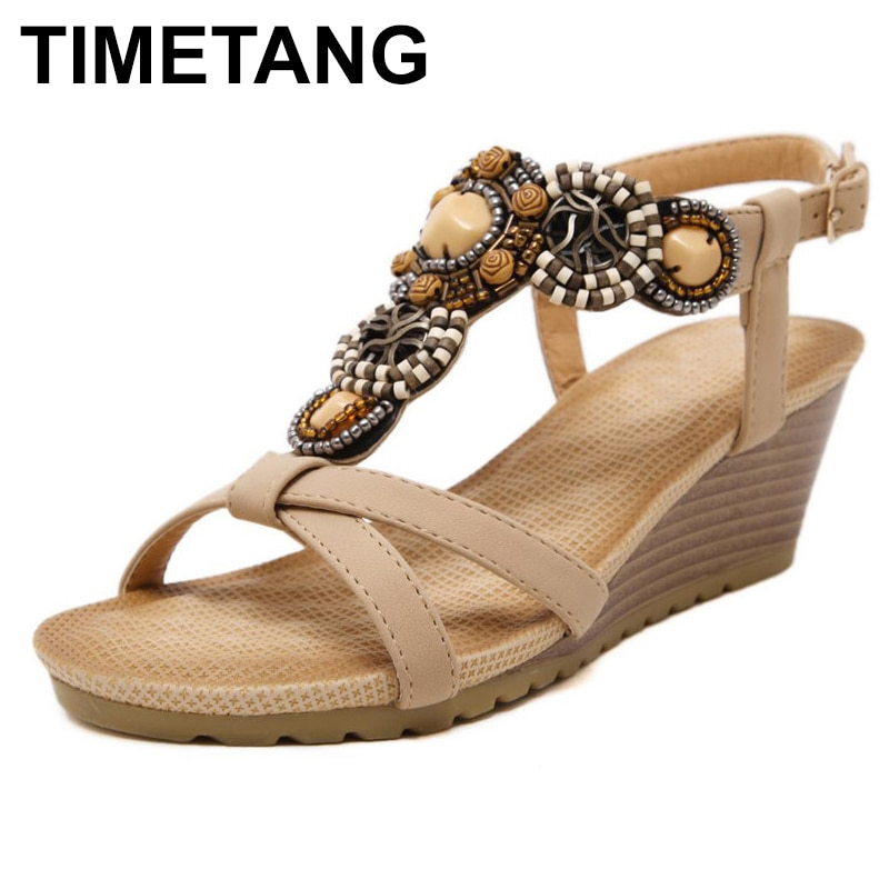 TIMETANG New Arrival Women Sandals Wedges Shoes Casual Shoes Women Beading Bohemia Fahion High Heels Plus Size 35-40 Free C054