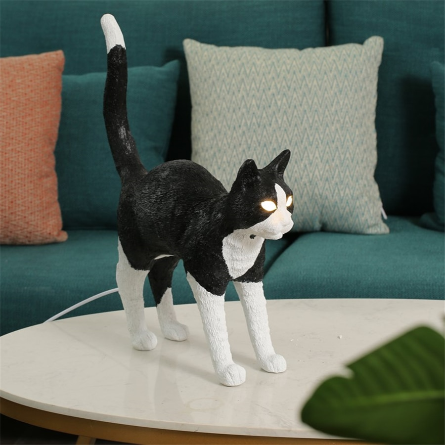 SELETTI-Northern resin table lamp, cat light,  Italian bedroom, desk LED light, lighting accessory with home decoration support