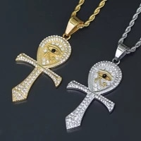 stainless steel cross necklace ancient egyptian horus eye pendant hip hop jewelry