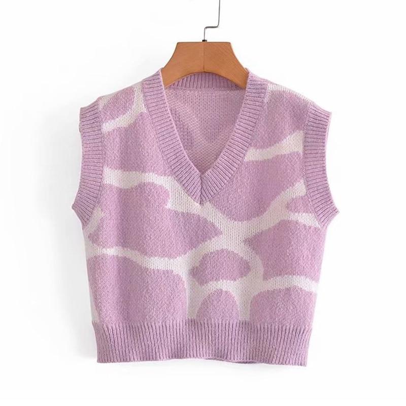 YENKYE Vintage Print Knit Vest Sweater Women V Neck Sleeveless Casual Summer Crop Top