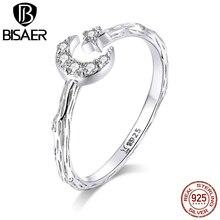 Lune anneaux BISAER offre spéciale 100% 925 argent Sterling lune & étoile femmes bagues clair cubique Zircon bijoux ECR638