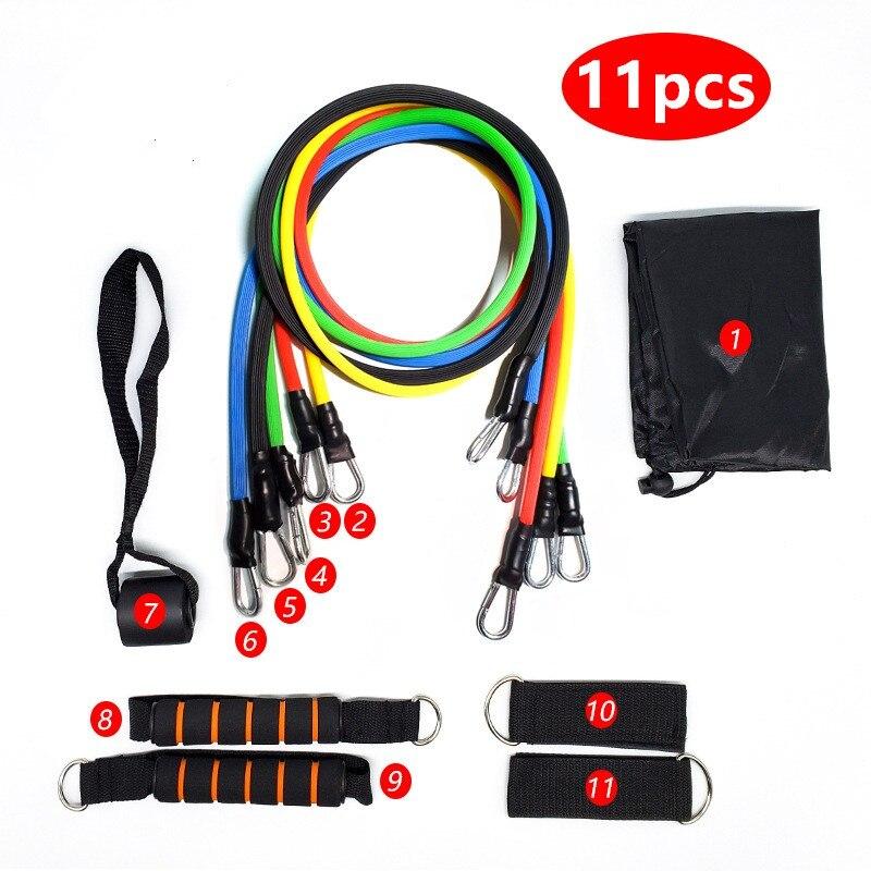 11 unids/set cuerda de tracción Fitness ejercicios de bandas de resistencia tubos de látex Pedal ejercicio entrenamiento corporal Yoga A02