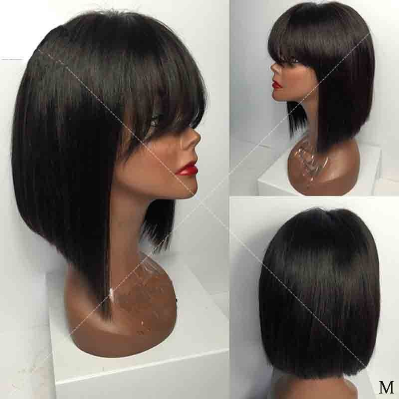 Pelo humano brasileño Remy, Base de seda, peluca frontal de encaje con flequillo, sin pegamento, Bob corto recta, Peluca de encaje de seda, Pre desplumado