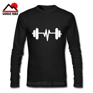 2019 Dumbbell 100% Cotton Barbells Body Building T shirt Man Weightlifting GYM Long Sleeves Male Tees Men Workout Printed Tshirt