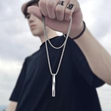2021 mode nouveau noir Rectangle pendentif collier hommes à la mode Simple en acier inoxydable chaîne hommes collier bijoux cadeau