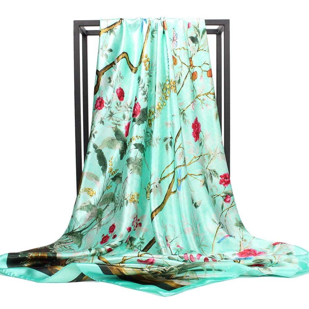 Фото - Новый атласный шелковый шарф для женщин, квадратный головной Шарф 35 дюймов, Женская шаль, разноцветная Женская шаль шелковый шарф шаль женщин лето солнце