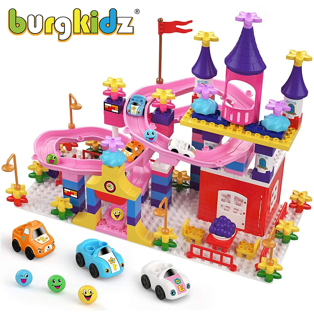 BURGKIDZ My First Castle Building Blocks Compatible With Duploed Marble Run Kids Blocks Figures Cars