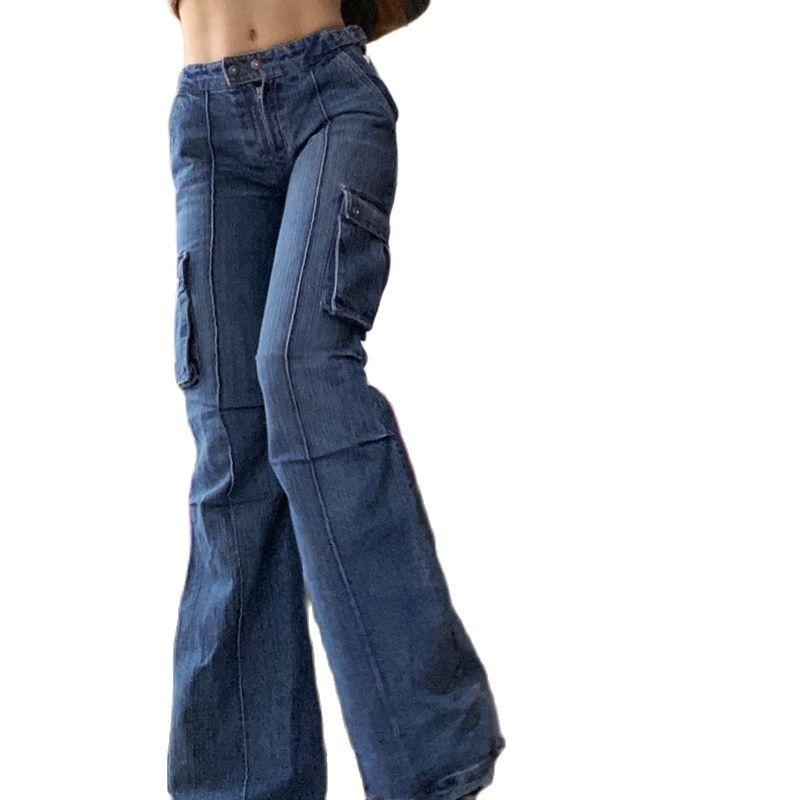 المرأة جيوب فضفاض الجينز منتصف الخصر بولي خمر الكورية مستقيم السراويل الشارع الشهير سراويل جينز عادية