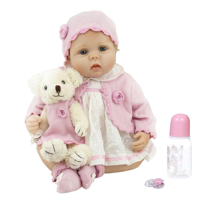 55cm 55cm muñeca Reborn realista de silicona suave vinilo recién nacido juguete rizado niña princesa oso ropa chupete realista regalo