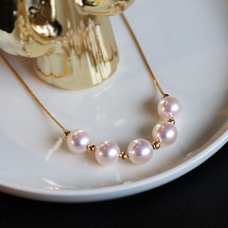 Promo 18K Solid Yellow Gold  Jewelry(AU750)Passepartout Women Lace Necklace Choker Collar Chain Natural Seawater Pearl Fashion Lady