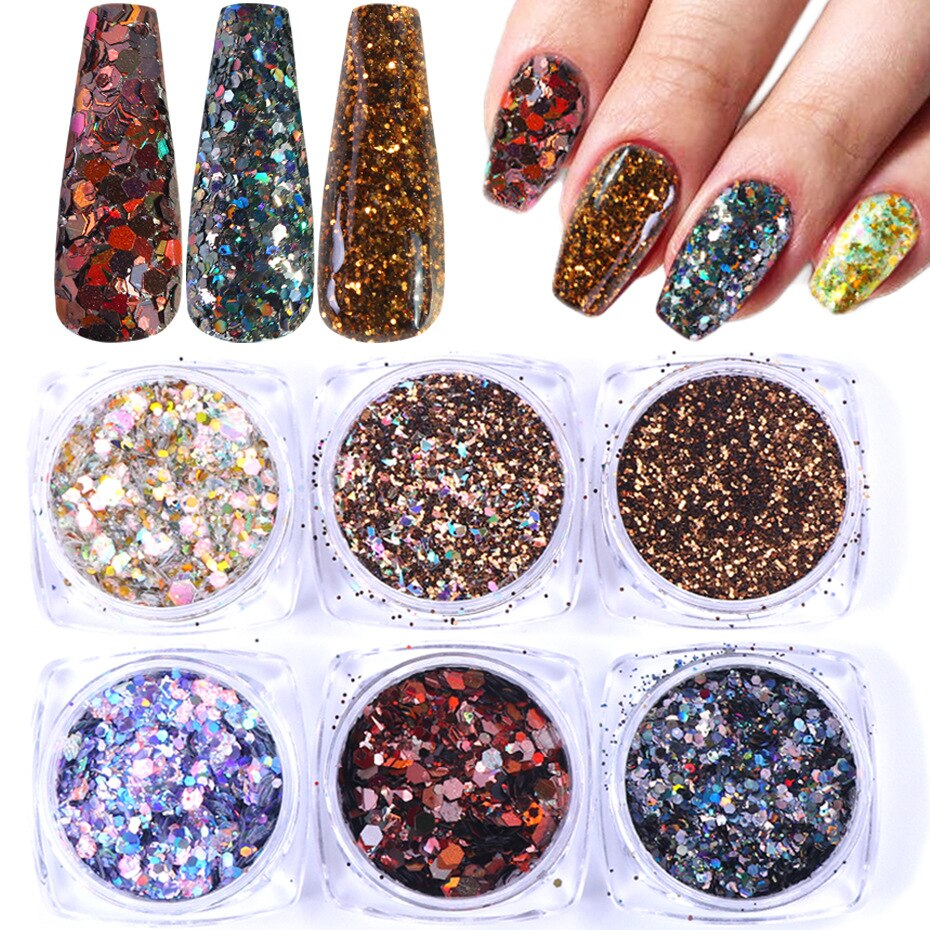 Nail Glitter Set Nail Color Matching Day Chameleon Laser Mixed Nail Sequin Nail Sequin Set Nail Decoration Decoration for Nails
