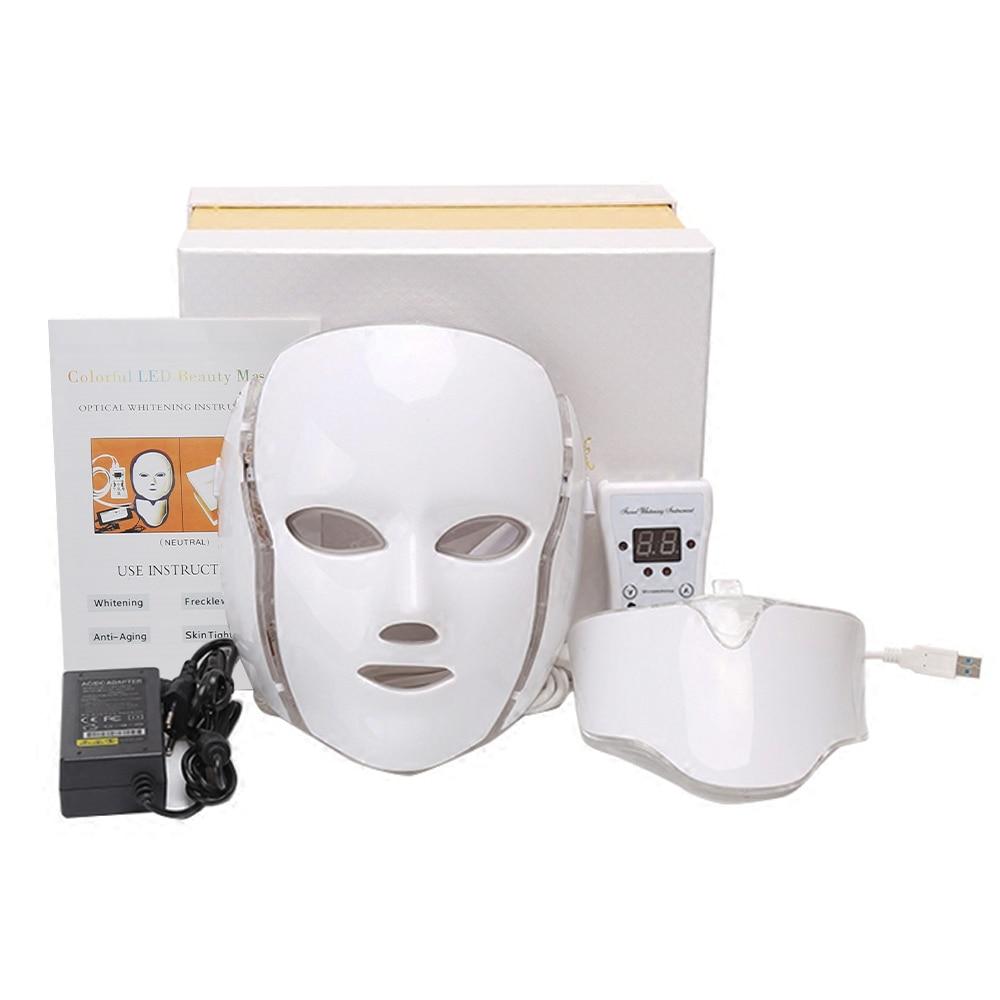 Face Instrument Facial Mask Photon Therapy 7 Color LED Neck Skin Rejuvenation Anti Acne Wrinkle Beauty Treatment Salon Home Care