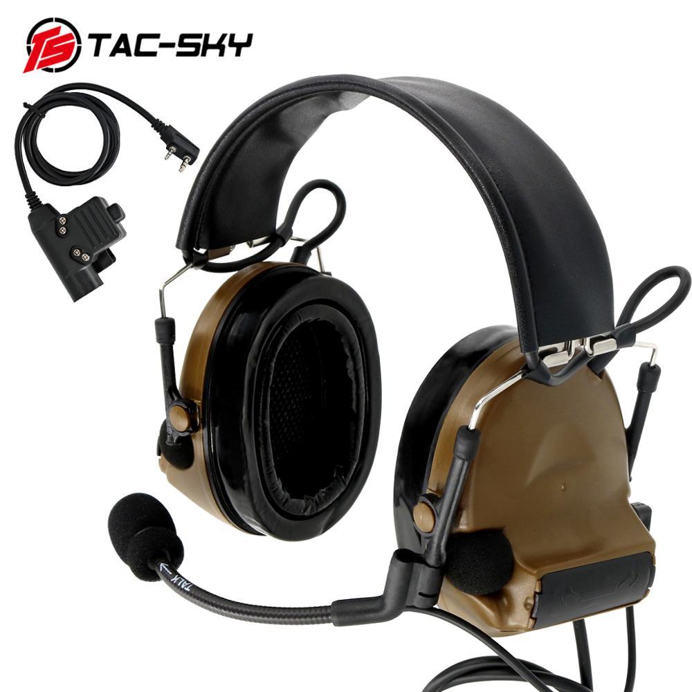 TAC-SKY auriculares tácticos COMTAC II orejeras de silicona reducción de ruido recogida auriculares de intercomunicación y táctico u94ptt