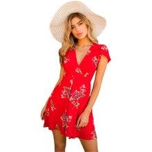 Women Short sleeve V Neck Floral Print Mini Skater Dress