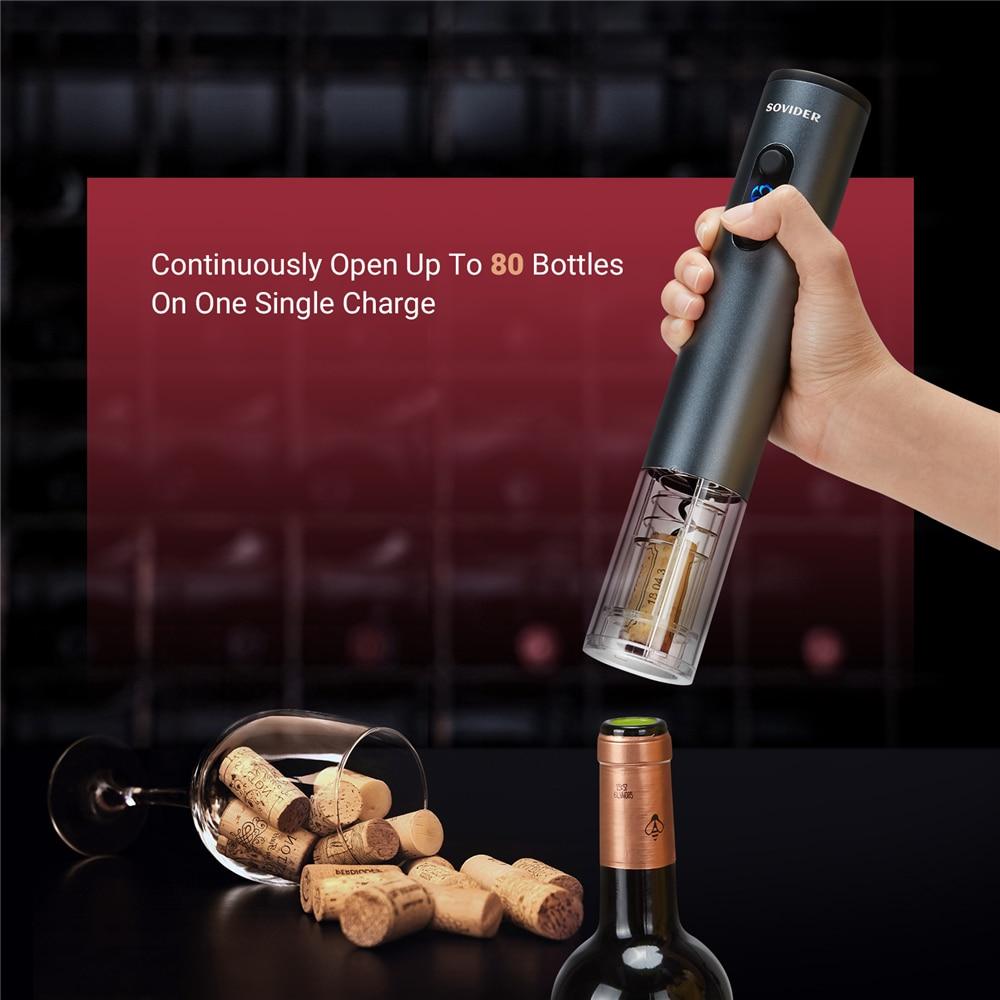 Sovider الكهربائية النبيذ مجموعة فتاحة زجاجات قابلة للشحن تفلون المفتاح مع احباط القاطع لمحبي النبيذ سهلة التخزين سريعة التشغيل