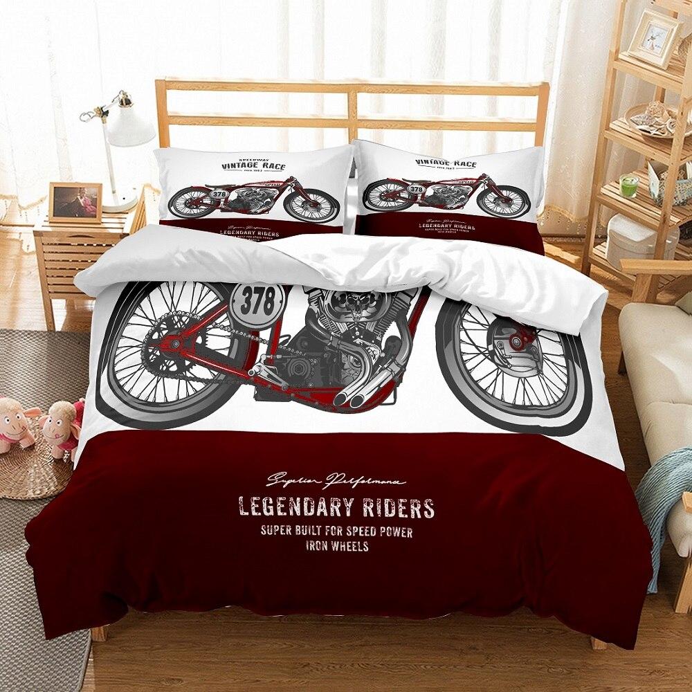 Juego de cama de 2/3 Uds. Con funda de almohada personalizado exquisita plata roja velocidad motocicleta Vintage carrera impreso rojo blanco