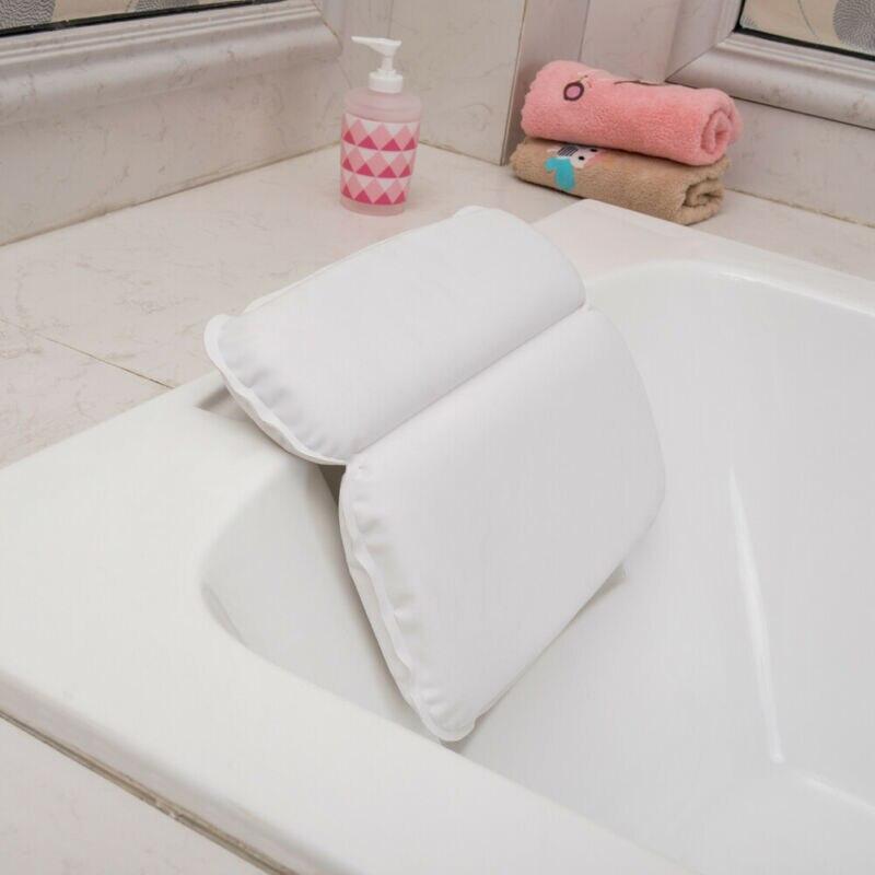 Almohada de baño impermeable para SPA, reposacabezas de bañera blanco antideslizante, almohadas de baño suaves y cómodas con ventosas, accesorios de baño