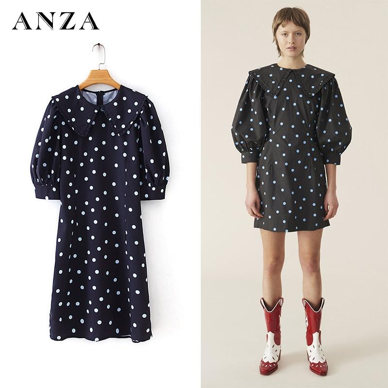 ZA-minivestido negro de manga corta, con estampado de lunares, para mujer