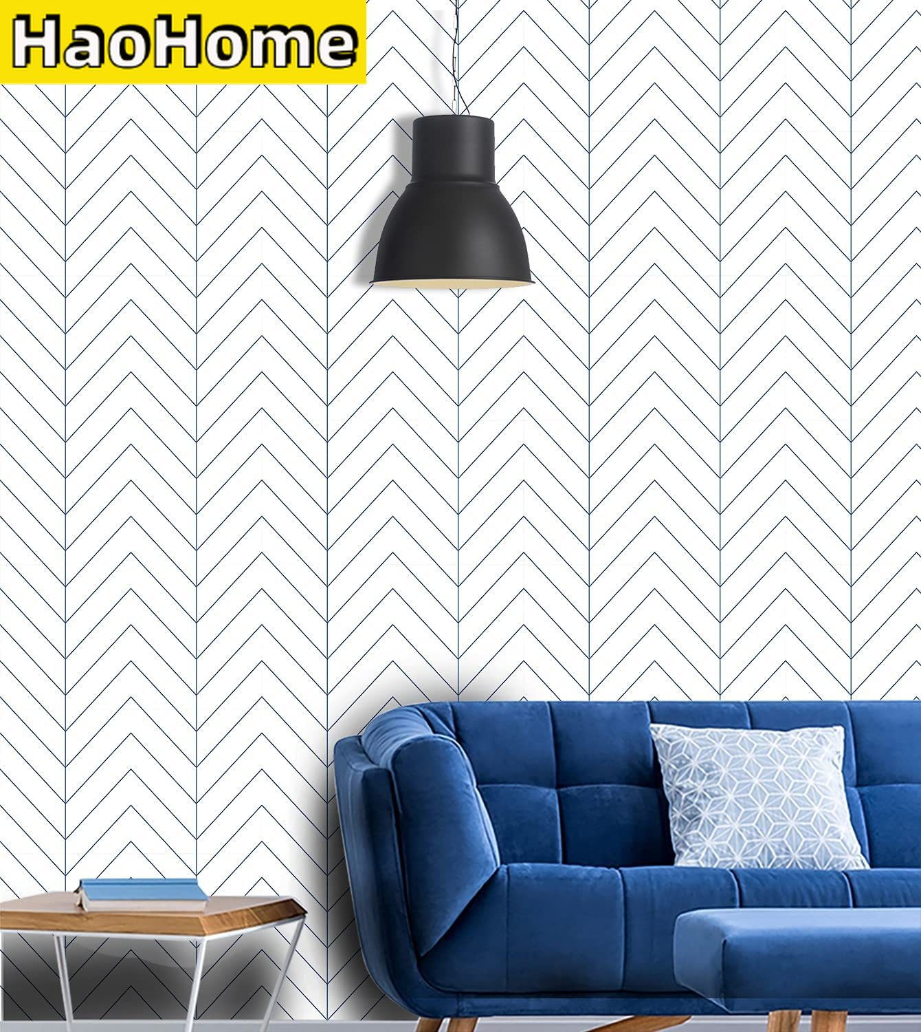 Blue Herringbone Self Adhesive Wallpaper Blue Stripes Peel and Stick Wallpaper Removable Waterproof Wall Stickers for Home Decor