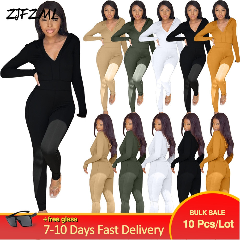 Bulk Items Wholesale Lots Women's Long Jumpsuit Bright Line Decoretion One Piece Overall Streetwear 90s 2000s Skinny Catsuits