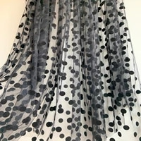 2020 new arrival5 yards black tulle lace fabric with black polka dots tulle mesh fabric with velvet dot hot selling