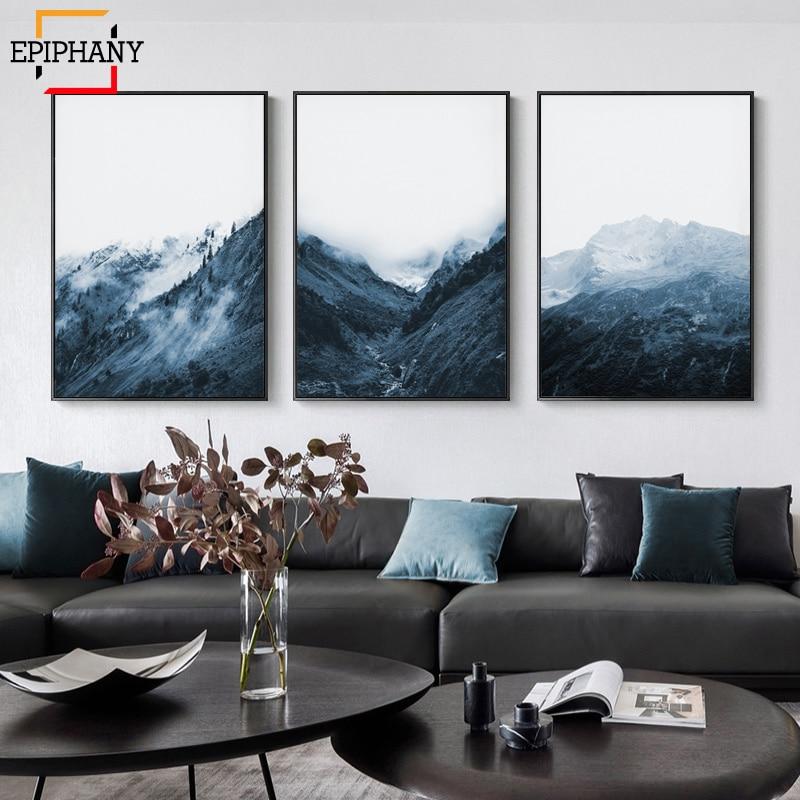 Cuadro de montaña Indigo, pintura de lona nórdica estampado de naturaleza moderna, pósteres imágenes para pared minimalistas para sala de estar