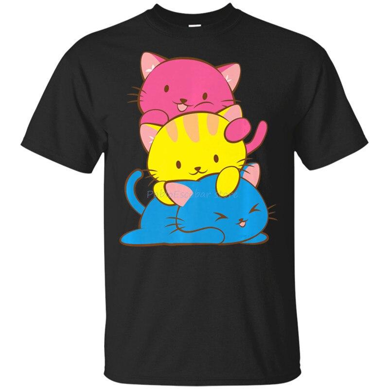 Pansexual Kawaii Cat Anime Art Cute Pan Pride Premium Black T-Shirt M-Xxxl Funny Design Tee Shirt