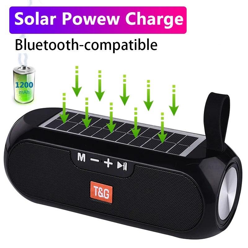 Altavoz portátil con carga Solar para exteriores, reproductor de música estéreo inalámbrico...