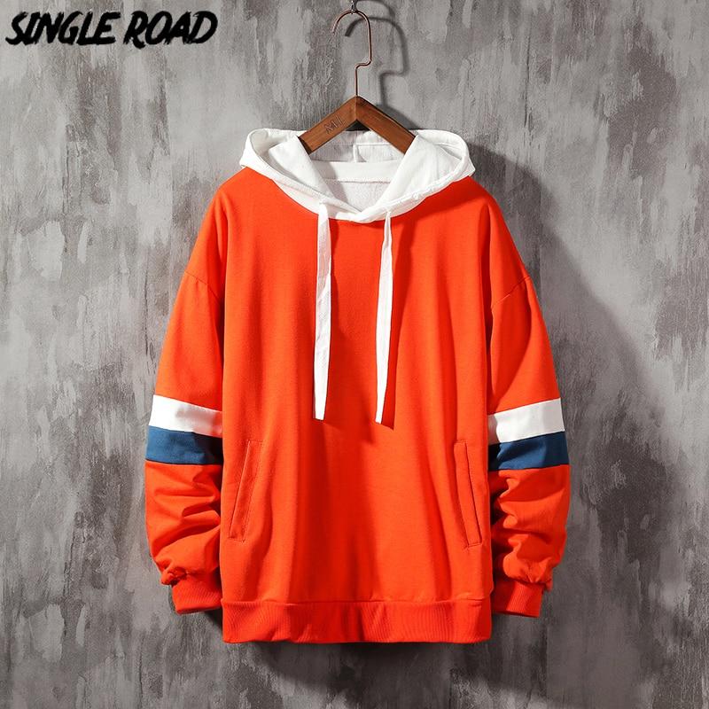 Толстовка SingleRoad Мужская, желтая, оранжевая, с капюшоном, в полоску, в стиле хип-хоп, оверсайз, Японская уличная одежда
