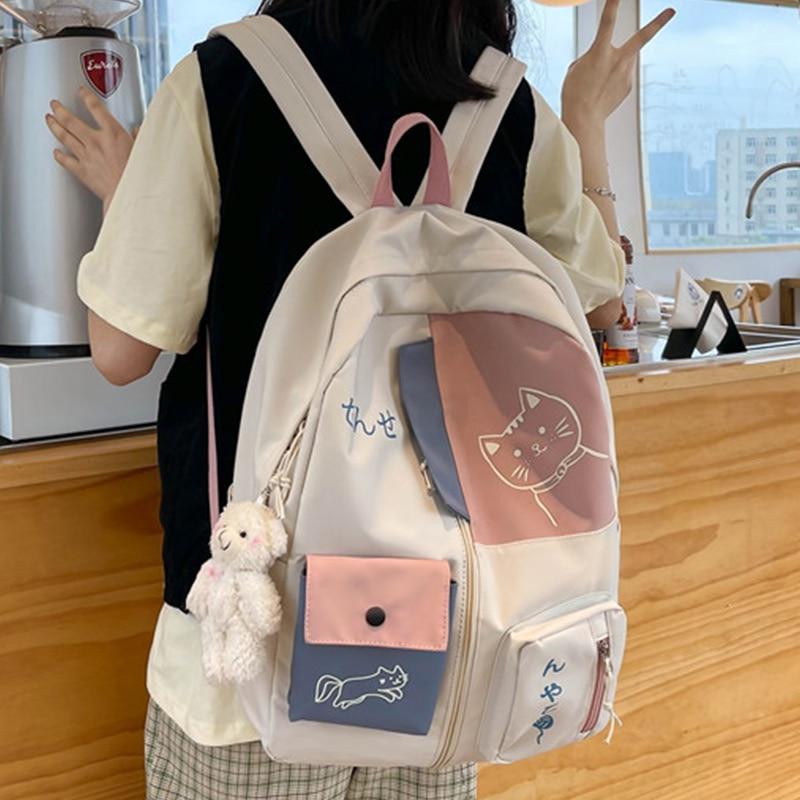 EST 2021 Women Backpack New Kawaii Patchwork Female Large Capacity Waterproof Nylon Shoulders School