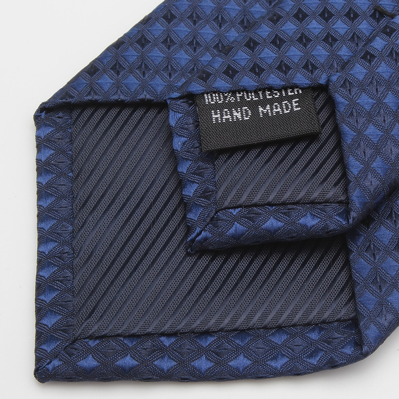 2020 Brand New Fashion High Quality Men 7CM Plaid Navy Blue Necktie Business Wedding Formal Suit Neck Tie for Men with Gift Box