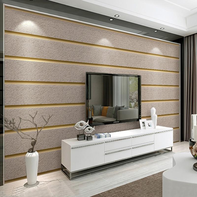 ورق حائط من جلد الغزال بخطوط أفقية للجدران ، قماش غير منسوج ثلاثي الأبعاد ، ورق حائط حديث لغرفة المعيشة ، أريكة ، تلفزيون ، ديكور منزلي