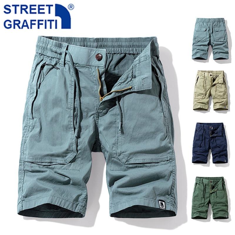 Men Summer New Premium Stretch Tactical Cotton Cargo Shorts Men Streetwear Pockets Shorts men Casual Fashion LooseBeach Shorts