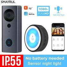 SMATRUL Tuya 1080P HD Video Doorbell Camera WiFi Wireless Smart Home Door Bell Outdoor Intercom 2 Way Audio LED Night Light USB