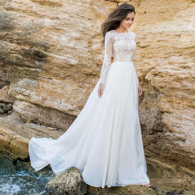 Solovedress vestido de novia dentelle robe de mariée à manches longues Sexy robe de soirée blanc robes de mariée en mousseline de soie une ligne robes de mariée