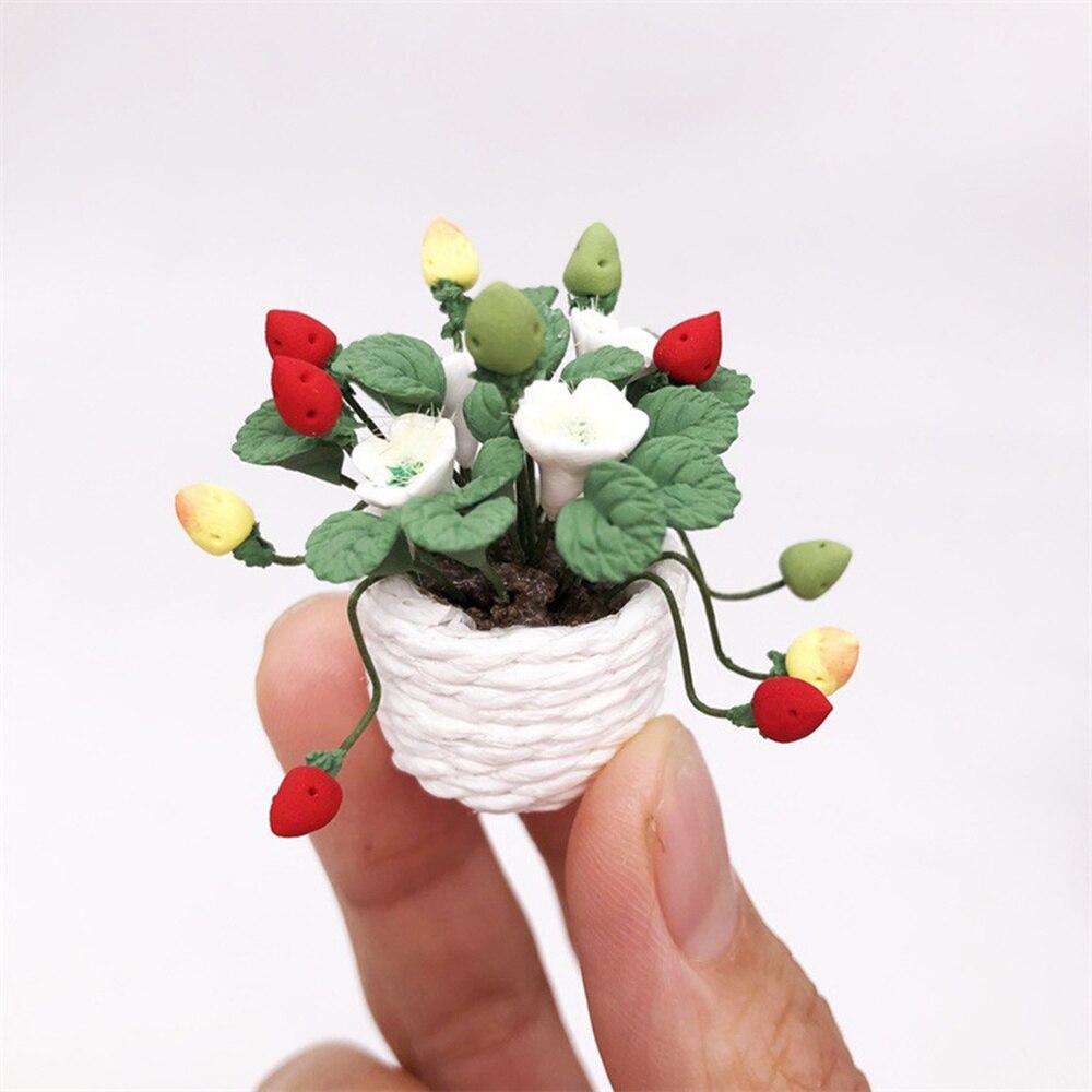 Mini bonsái, maceta de planta de fresa, minimuebles de casa, decoración de escena, accesorios para el hogar