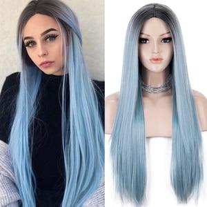Kryssma эффектом деграде (переход от темного к розовый светло-голубой парик длинные прямые синтетические парики для Для женщин мятно-зеленого цвета, золы светлый парик для косплея полный фабричного производства