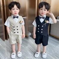 2pcs kids formal school suits baby boys suit summer toddler boy blazers cotton child costume wedding wear infant clothing sets